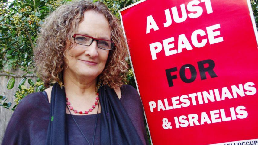 2. BDS activist Susan Landau in Philadelphia. Her slogan, No Justice No Chickpeas